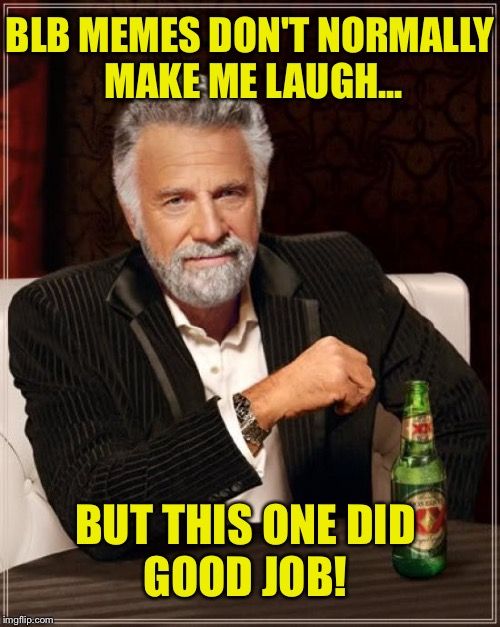 The Most Interesting Man In The World Meme | BLB MEMES DON'T NORMALLY MAKE ME LAUGH... BUT THIS ONE DID GOOD JOB! | image tagged in memes,the most interesting man in the world | made w/ Imgflip meme maker