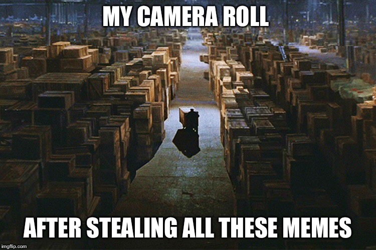 Meme harvesting archive  | MY CAMERA ROLL AFTER STEALING ALL THESE MEMES | image tagged in indiana jones,stealing,memes | made w/ Imgflip meme maker
