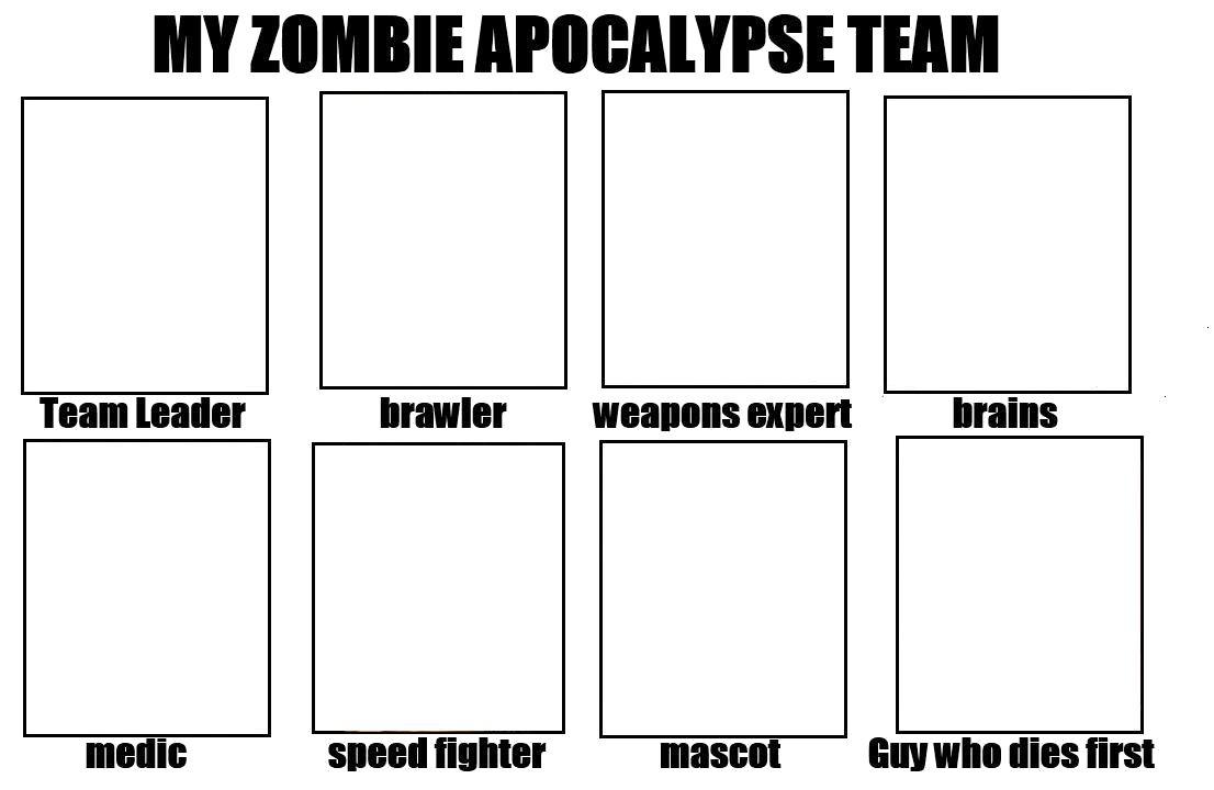 6 team draw template - my zombie apocalypse team blank template imgflip
