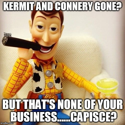 R.I.P. Kermit and Connery.....muah ha ha ha ha. |  KERMIT AND CONNERY GONE? BUT THAT'S NONE OF YOUR BUSINESS......CAPISCE? | image tagged in none of my business,none of your business,toy story,kermit the frog,sean connery | made w/ Imgflip meme maker