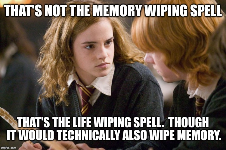 THAT'S NOT THE MEMORY WIPING SPELL THAT'S THE LIFE WIPING SPELL.  THOUGH IT WOULD TECHNICALLY ALSO WIPE MEMORY. | made w/ Imgflip meme maker
