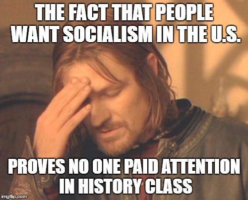 Frustrated Boromir Meme | THE FACT THAT PEOPLE WANT SOCIALISM IN THE U.S. PROVES NO ONE PAID ATTENTION IN HISTORY CLASS | image tagged in memes,frustrated boromir | made w/ Imgflip meme maker