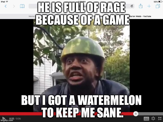 Watermelon |  HE IS FULL OF RAGE BECAUSE OF A GAME; BUT I GOT A WATERMELON TO KEEP ME SANE. | image tagged in watermelon | made w/ Imgflip meme maker