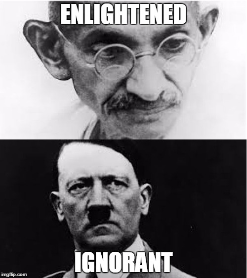 hitler vs ghandi Adolf hitler and mohandas karamchand gandhi (mahatma gandhi) are two very important figures of the last century the former went down in history books for war and genocide the latter, for opposing tyranny with non-violence.