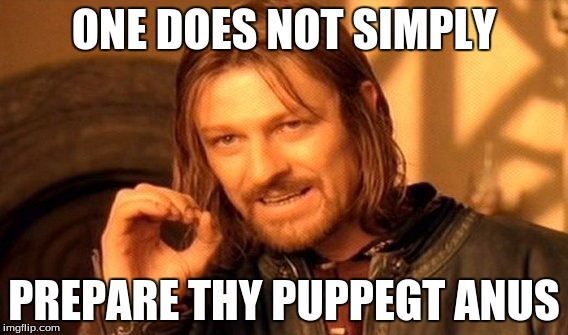 ONE DOES NOT SIMPLY PREPARE THY PUPPEGT ANUS | image tagged in memes,one does not simply | made w/ Imgflip meme maker