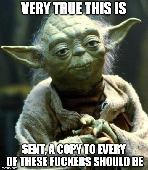 Star Wars Yoda Meme | VERY TRUE THIS IS SENT, A COPY TO EVERY OF THESE F**KERS SHOULD BE | image tagged in memes,star wars yoda | made w/ Imgflip meme maker