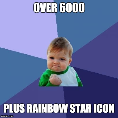 Success Kid Meme | OVER 6000 PLUS RAINBOW STAR ICON | image tagged in memes,success kid | made w/ Imgflip meme maker