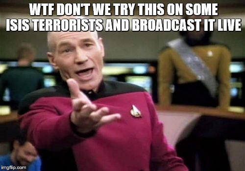 Picard Wtf Meme | WTF DON'T WE TRY THIS ON SOME ISIS TERRORISTS AND BROADCAST IT LIVE | image tagged in memes,picard wtf | made w/ Imgflip meme maker