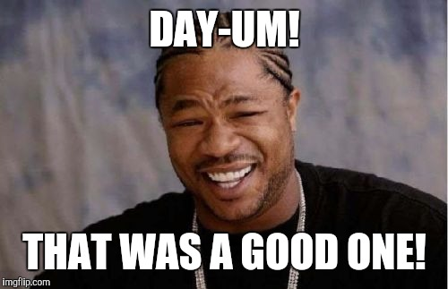 Yo Dawg Heard You Meme | DAY-UM! THAT WAS A GOOD ONE! | image tagged in memes,yo dawg heard you | made w/ Imgflip meme maker