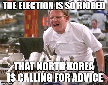 Chef Ramsay | THE ELECTION IS SO RIGGED THAT NORTH KOREA IS CALLING FOR ADVICE | image tagged in chef ramsay | made w/ Imgflip meme maker