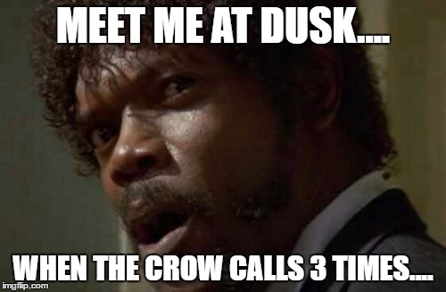 Samuel Jackson Glance | MEET ME AT DUSK.... WHEN THE CROW CALLS 3 TIMES.... | image tagged in memes,samuel jackson glance | made w/ Imgflip meme maker