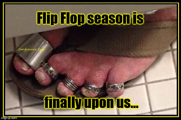 Hammer Toes |  Flip Flop season is; finally upon us... | image tagged in hammer toes,flip flop season | made w/ Imgflip meme maker