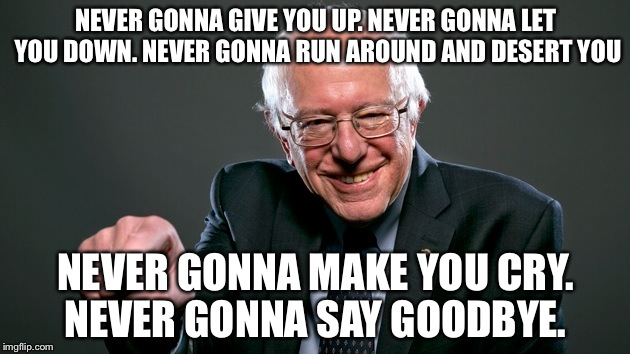 NEVER GONNA GIVE YOU UP. NEVER GONNA LET YOU DOWN. NEVER GONNA RUN AROUND AND DESERT YOU NEVER GONNA MAKE YOU CRY. NEVER GONNA SAY GOODBYE. | image tagged in bernie sanders | made w/ Imgflip meme maker