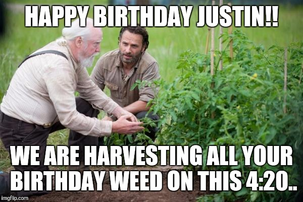 Walking Dead garden |  HAPPY BIRTHDAY JUSTIN!! WE ARE HARVESTING ALL YOUR BIRTHDAY WEED ON THIS 4:20.. | image tagged in walking dead garden | made w/ Imgflip meme maker