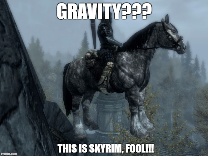 Gravity??? | GRAVITY??? THIS IS SKYRIM, FOOL!!! | image tagged in skyrim horse,skyrim | made w/ Imgflip meme maker