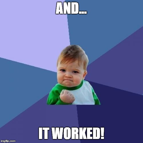 Success Kid Meme | AND... IT WORKED! | image tagged in memes,success kid | made w/ Imgflip meme maker