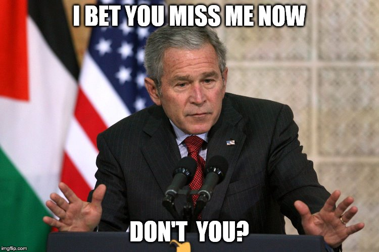 george w bush |  I BET YOU MISS ME NOW; DON'T  YOU? | image tagged in george w bush | made w/ Imgflip meme maker