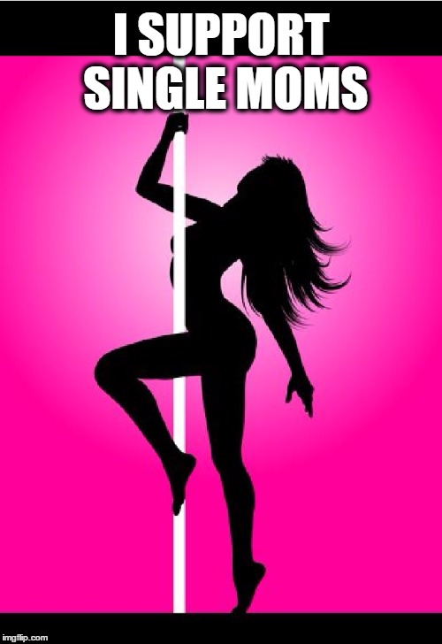 Pole Dancer | I SUPPORT SINGLE MOMS | image tagged in memes,funny,lol,mom,dancer,pole dancer | made w/ Imgflip meme maker