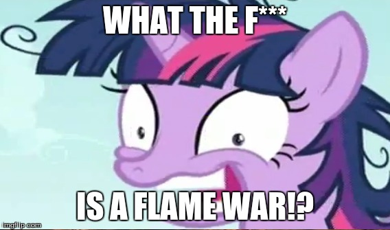 twilight sparkle must know!!! | WHAT THE F*** IS A FLAME WAR!? | image tagged in twilight sparkle,flame war | made w/ Imgflip meme maker