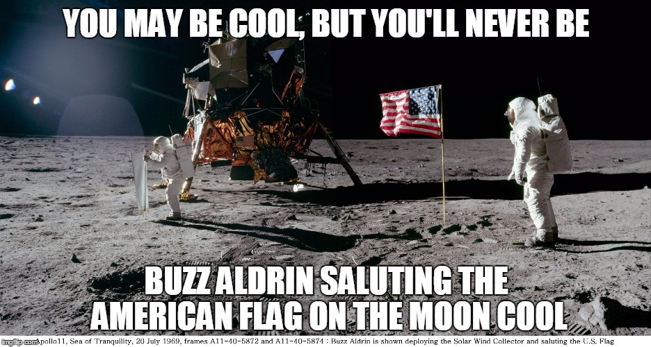 buzz aldrin on moon | YOU MAY BE COOL, BUT YOU'LL NEVER BE BUZZ ALDRIN SALUTING THE AMERICAN FLAG ON THE MOON COOL | image tagged in buzz aldrin on moon | made w/ Imgflip meme maker