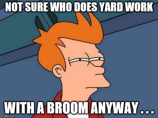 Futurama Fry Meme | NOT SURE WHO DOES YARD WORK WITH A BROOM ANYWAY . . . | image tagged in memes,futurama fry | made w/ Imgflip meme maker