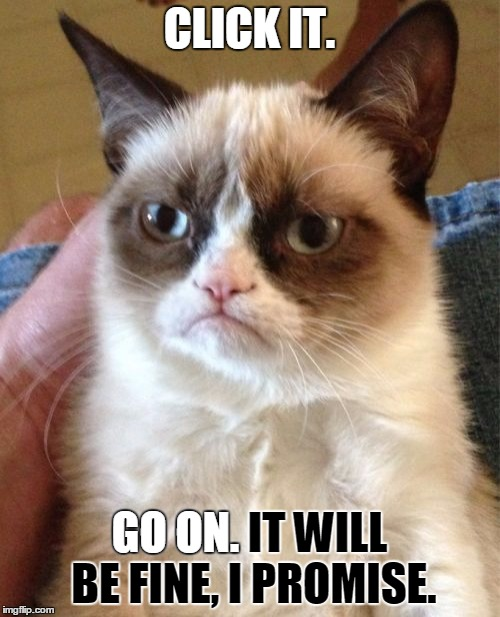 Grumpy Cat Meme | CLICK IT. GO ON. IT WILL BE FINE, I PROMISE. GO ON. | image tagged in memes,grumpy cat | made w/ Imgflip meme maker
