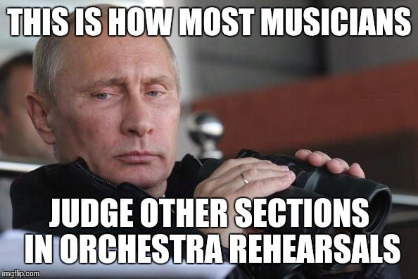 Judging sections in orchestra |  THIS IS HOW MOST MUSICIANS; JUDGE OTHER SECTIONS IN ORCHESTRA REHEARSALS | image tagged in vladimir putin,orchestra,memes,music,rehearsal,judging | made w/ Imgflip meme maker