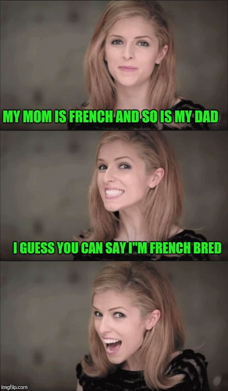 "Bad Pun Anna Kendrick Meme | MY MOM IS FRENCH AND SO IS MY DAD I GUESS YOU CAN SAY I""M FRENCH BRED 