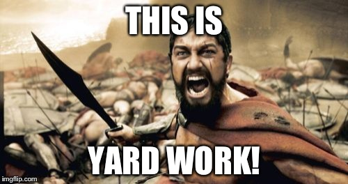 Sparta Leonidas Meme | THIS IS YARD WORK! | image tagged in memes,sparta leonidas | made w/ Imgflip meme maker