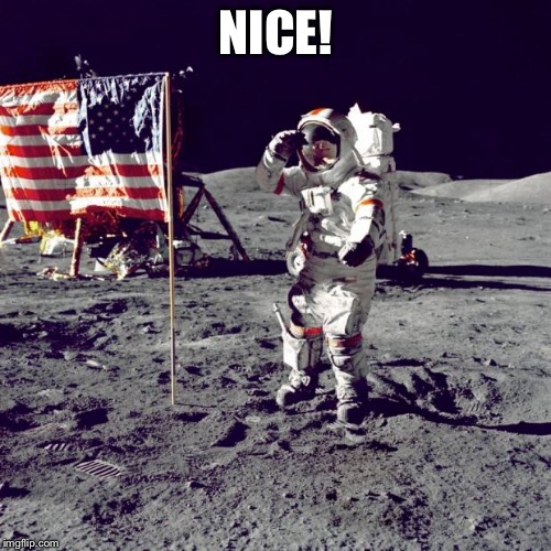 Neil Armstrong | NICE! | image tagged in neil armstrong | made w/ Imgflip meme maker