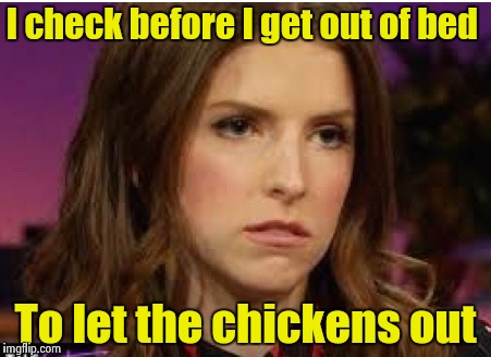 Confession Anna | I check before I get out of bed To let the chickens out | image tagged in confession anna | made w/ Imgflip meme maker