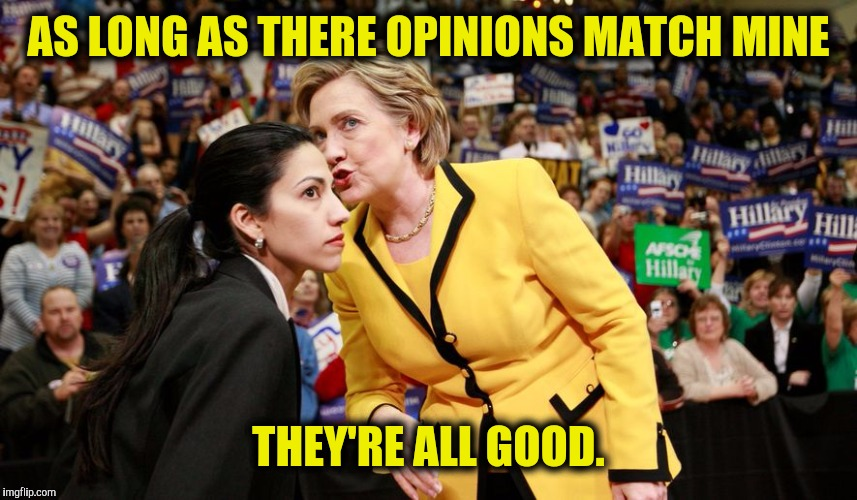 AS LONG AS THERE OPINIONS MATCH MINE THEY'RE ALL GOOD. | made w/ Imgflip meme maker