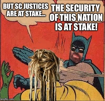 BUT SC JUSTICES ARE AT STAKE... THE SECURITY OF THIS NATION IS AT STAKE! | made w/ Imgflip meme maker