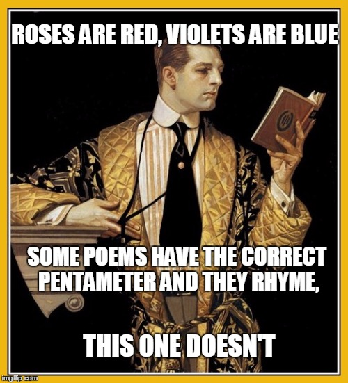 Non-Conformist Poet | ROSES ARE RED, VIOLETS ARE BLUE SOME POEMS HAVE THE CORRECT PENTAMETER AND THEY RHYME, THIS ONE DOESN'T | image tagged in poetry dude | made w/ Imgflip meme maker