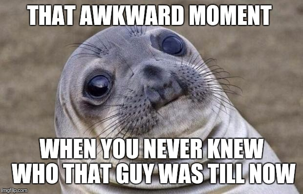 Awkward Moment Sealion Meme | THAT AWKWARD MOMENT WHEN YOU NEVER KNEW WHO THAT GUY WAS TILL NOW | image tagged in memes,awkward moment sealion | made w/ Imgflip meme maker