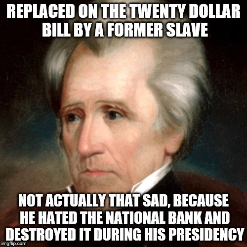 Andrew Jackson |  REPLACED ON THE TWENTY DOLLAR BILL BY A FORMER SLAVE; NOT ACTUALLY THAT SAD, BECAUSE HE HATED THE NATIONAL BANK AND DESTROYED IT DURING HIS PRESIDENCY | image tagged in memes | made w/ Imgflip meme maker