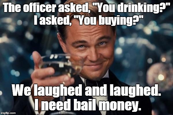 "Leonardo Dicaprio Cheers Meme | The officer asked, ""You drinking?""  I asked, ""You buying?"" We laughed and laughed. I need bail money. 