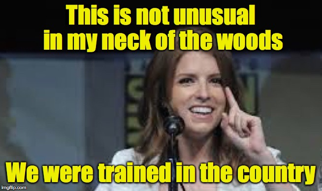 Condescending Anna | This is not unusual in my neck of the woods We were trained in the country | image tagged in condescending anna | made w/ Imgflip meme maker