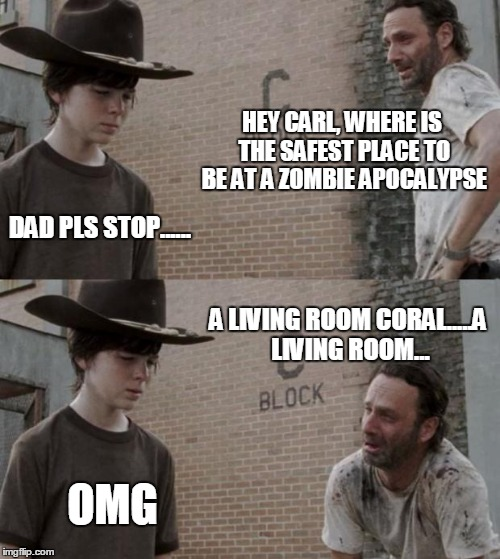 Rick and Carl Meme | HEY CARL, WHERE IS THE SAFEST PLACE TO BE AT A ZOMBIE APOCALYPSE DAD PLS STOP...... A LIVING ROOM CORAL.....A LIVING ROOM... OMG | image tagged in memes,rick and carl | made w/ Imgflip meme maker