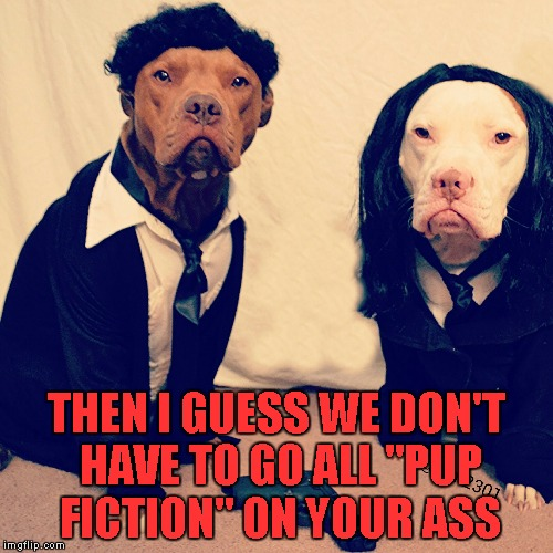 "THEN I GUESS WE DON'T HAVE TO GO ALL ""PUP FICTION"" ON YOUR ASS 