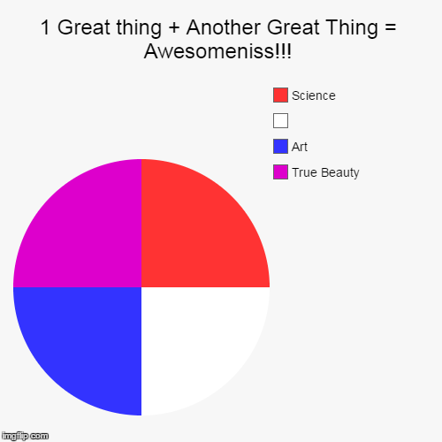 Its the truth | 1 Great thing + Another Great Thing = Awesomeniss!!! | True Beauty, Art,  , Science | image tagged in funny,pie charts,so true memes | made w/ Imgflip chart maker