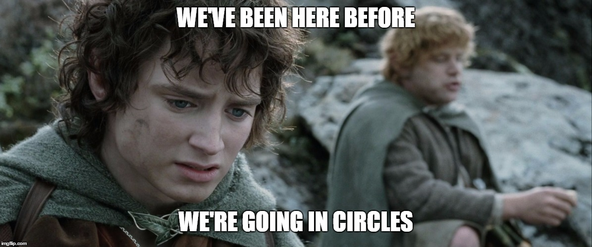 Image result for we've been here before gif