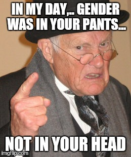 Back In My Day Meme | IN MY DAY,.. GENDER WAS IN YOUR PANTS... NOT IN YOUR HEAD | image tagged in memes,back in my day | made w/ Imgflip meme maker