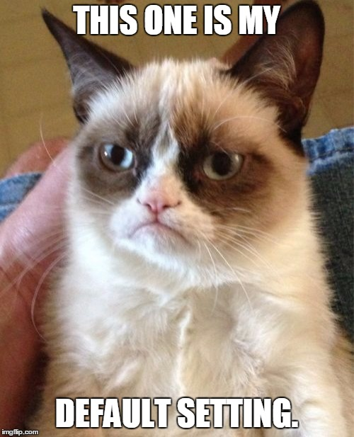 Grumpy Cat Meme | THIS ONE IS MY DEFAULT SETTING. | image tagged in memes,grumpy cat | made w/ Imgflip meme maker