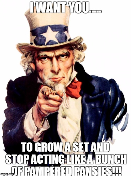 Uncle sam has a message for college students and safe spaces... | I WANT YOU..... TO GROW A SET AND STOP ACTING LIKE A BUNCH OF PAMPERED PANSIES!!! | image tagged in memes,uncle sam,college,safe space,liberals | made w/ Imgflip meme maker