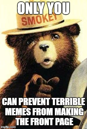 smokey the bear | ONLY YOU CAN PREVENT TERRIBLE MEMES FROM MAKING THE FRONT PAGE | image tagged in smokey the bear | made w/ Imgflip meme maker
