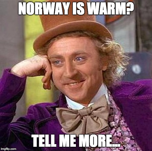 Creepy Condescending Wonka Meme | NORWAY IS WARM? TELL ME MORE... | image tagged in memes,creepy condescending wonka | made w/ Imgflip meme maker
