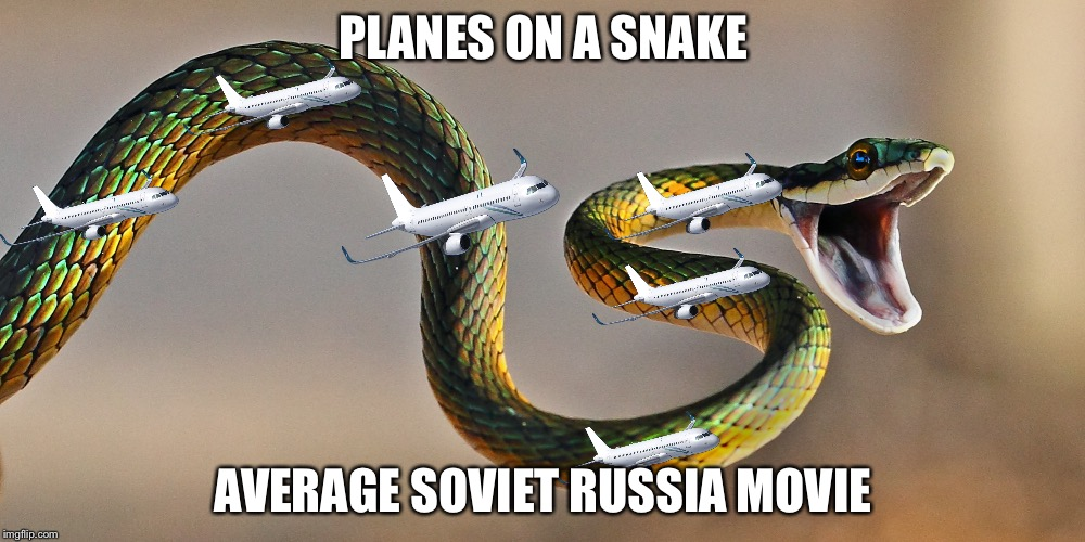 Anybody up for pophuman? | PLANES ON A SNAKE AVERAGE SOVIET RUSSIA MOVIE | image tagged in memes,in soviet russia,planes,snakes,movies | made w/ Imgflip meme maker