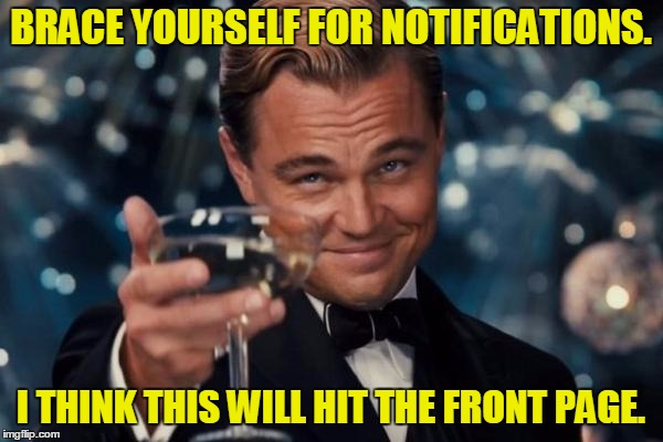 Leonardo Dicaprio Cheers Meme | BRACE YOURSELF FOR NOTIFICATIONS. I THINK THIS WILL HIT THE FRONT PAGE. | image tagged in memes,leonardo dicaprio cheers | made w/ Imgflip meme maker