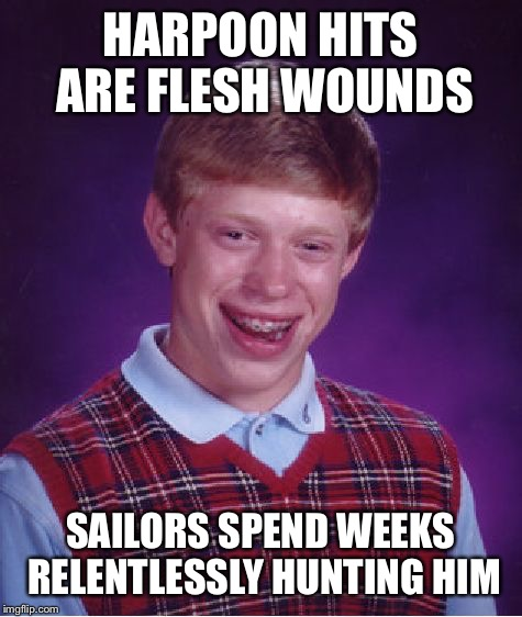 Bad Luck Brian Meme | HARPOON HITS ARE FLESH WOUNDS SAILORS SPEND WEEKS RELENTLESSLY HUNTING HIM | image tagged in memes,bad luck brian | made w/ Imgflip meme maker